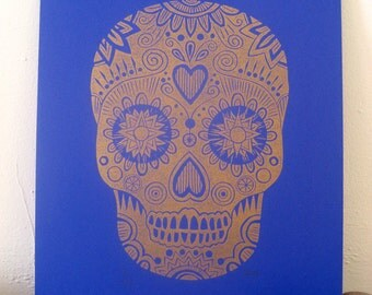 Sugar Skull - Wall Decor - Linocut Print - Mexican Day of the Dead - Folk Art - Calavera - Lino print - Wall Art