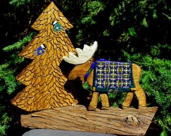 Hand Carved Adirondack Shelf Sitter - Moose & Tree
