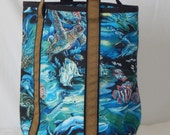 Large zippered tote bag, fully lined, Sea life, turtle, whale, dolphin