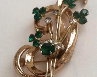 Mid Century Emerald Green Rhinestone Flower Swag Brooch