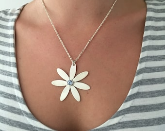 Handmade Sterling Silver Daisy Necklace with Light Blue Stone