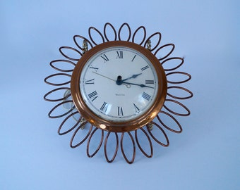 Vtg Starburst Clock WESTCLOX Electric Copper Wall Clock