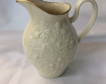 Vintage Lenox Blackberry Milk Pitcher with hand decorated 24K gold