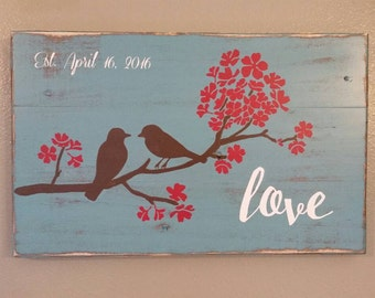 Love Birds with Blossoms Pallet Wood Sign Rustic Chic Decor Distressed Wood Wedding Gift Shabby Chic Decor Love Sign Pallet Art Pallet Signs