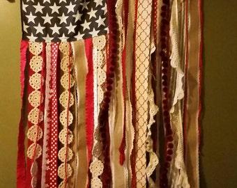 Upcycled Vintage Gypsy Boho American Flag Ribbon Lace Salvage Large