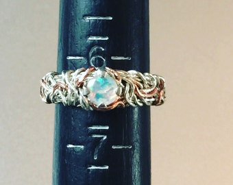Fire Opal two tone Ring, Sterling Silver and Rose Ring, mixed metal ring, Coiled Ring, Crown of Thorns Ring, Engagement Ring