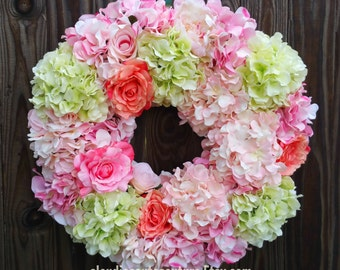Summer Wreath, Hydrangea Wreath,Peony Wreath,Pink Wreath,Lime Wreath,Wedding Wreath,Shabby Chic Wreath,Front Door Wreath,Wreath,Roses Wreath