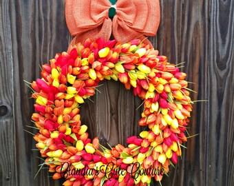 Spring Wreath,FrontDoorWreath,Wreath for Door,Summer Wreath,Tulips Wreath,Door Hangers,Mother's Day Gift,Easter Wreath,Flower Wreath,Wreaths