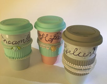 Sharpie Art Porcelain Latte Mugs