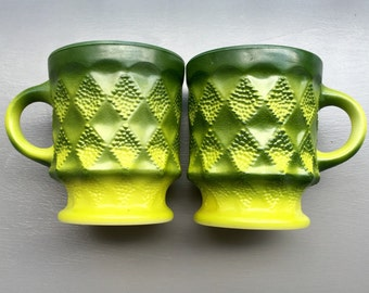 Green Ombre Fire King Anchor Hocking Mug