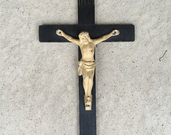 Old Antique Wood And Painted Metal Cross Crucifix Jesus L816C40