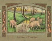 1911 Easter Greetings Postcard With Peaceful and Serene Scene of Lambs Beside a Stream | Vintage Stamp | Divided Back | Made in Germany
