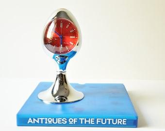 Vintage Mod Chrome Egg Shape Blessing Pedestal Alarm Clock - Made in West Germany