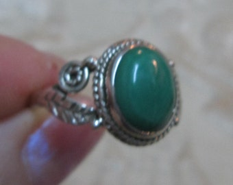 Malachite Sterling Silver Ring Sizes 6 and 9
