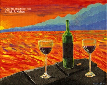 Sunset painting, Colorful painting, wine for two,wine art,wine glass sunset,sunset home decor,sunset wall art,original painting, Item #SWGO1