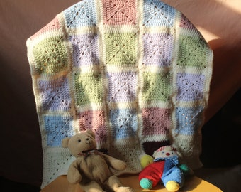 Solid Granny Square Crochet Baby Blanket