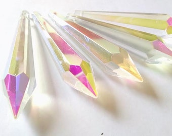 ONE AB 80mm Chandelier Crystal Icicle Ornaments Prism Iridescent