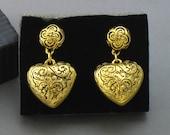 Vintage Avon 'Etched Heart' Antiqued Goldtone Clip Earrings (1993). Heart Earrings. Vintage Avon Jewelry. Puffed Hearts.