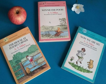 Sweet Set! Winnie The Pooh, The House At Pooh Corner, Now We Are Six A.A. Milne, Vintage Book Kids Gift, Nursery Decor, Dell Printing 1980