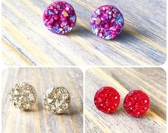 Pick Three Pairs Druzy Bundle- BUNDLE Earring Posts -Titanium Studs- Sensitive Ears-Earring Sets