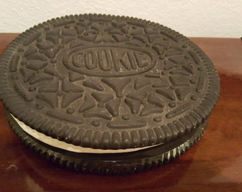 Large Ceramic Chocolate Cookie with White Cream Filling Container
