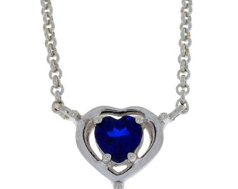 Valentine's Day Blue Sapphire Heart Pendant .925 Sterling Silver