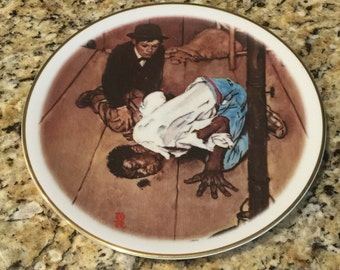"""Vintage Norman Rockwell Collectors Plate """"Listening"""" (from The Adventures of Huck Finn series)"""