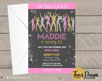 disco party invitation disco party girls printable birthday invitation girl disco party disco - Disco Party Invitations
