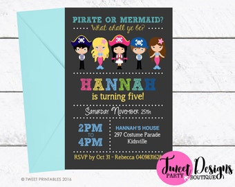 MERMAID and PIRATE Invitation, Printable Pirate Mermaid Invitation, MERMAID and Pirate Invitations, Pirate and Mermaid Invitations, Pirate
