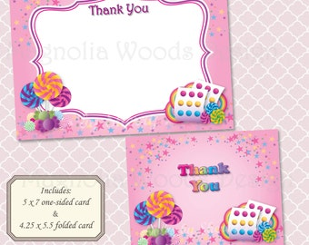 Candyland Candy Thank You Card - Instant Digital Download (Print Your Own) - Candy Birthday Celebration Printable Thank You Card
