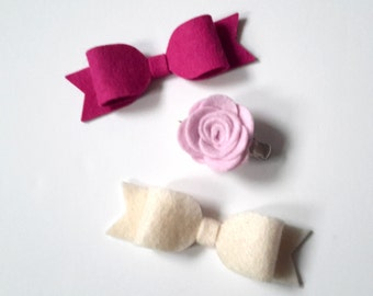 Pink, Yellow, Grey. Choice of Three Felt Bow/Rose Hair Clips
