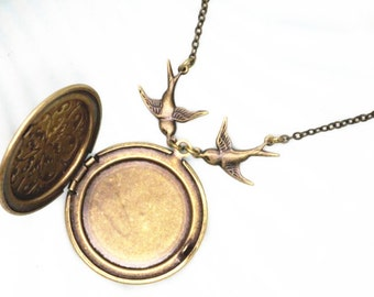 2 pcs of brass chain with locket antique bronze color