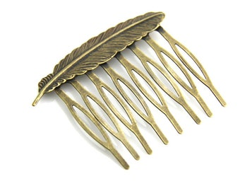 6 pcs of brass feather hair comb-55mm length-6030-antique bronze