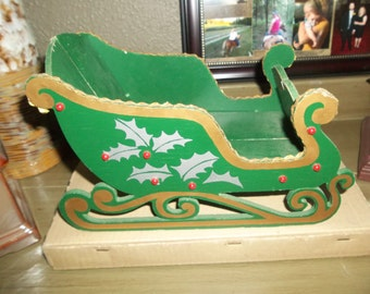 Vintage Green Wooden Collapsible Sled