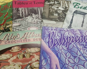 32 Antique vintage crochet magazines from the 30s, 40s and 50s  what a great collection  in very nice condition.