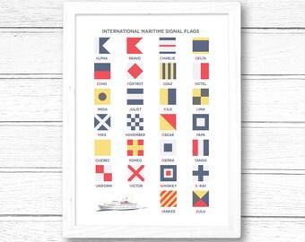 International Maritime Signal Flags Alphabet Giclee Print