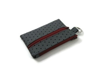 Black Polka Dot Keychain Wallet, Mini Wallet, Coin Purse With Zippered Pocket