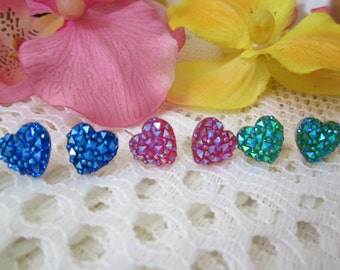 Lot of 3 pairs of earrings- Aurora Borealis DRUSY handmade HEART shape stud earrings