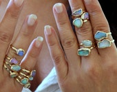 Raw Opal Ring, Raw Stone Ring, Valentines Gift, Stackable Gemstone Ring, Solitaire Ring, Australian Opal Ring, Unique Design By Inbal Mishan