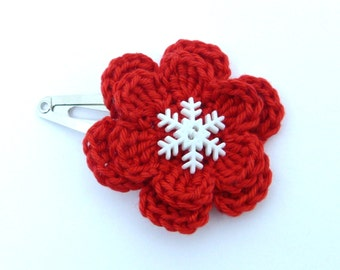 1 Red and white crochet flower hair clip ideal stocking stuffer