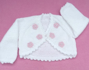 Hand knitted white baby bolero cardigan newborn to 3 months