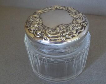 Vintage Silver Powder Jar - Lady Primrose's Silver Powder Jar - Lady Primrose's Silver Vanity Jar - Vintage Silver and Glass Cosmetics Jar