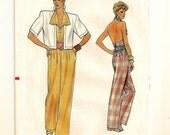 "A Wide-Leg Halter Jumpsuit w/Lapels & Pockets and Short Sleeve Jacket Pattern for Women: Uncut - Sizes 12-14-16 Bust 34"" - 38"" • Vogue 9299"