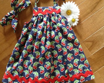 GIRLS SUMMER DRESS, girls clothing, cherries and ric rac, photo prop