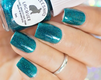 Turquoise Holo Nail Polish - Caribbean Twist - The Gradient Collection