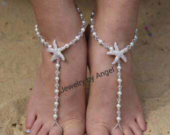 Pearl Crystal & Silver Bridal  Barefoot Sandal  Beach Wedding Bridal Foot Jewelry Bridal Starfish Jewelry