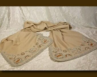Antique Virgin Wool Beaded Shawl - Made in Austria c. 1920