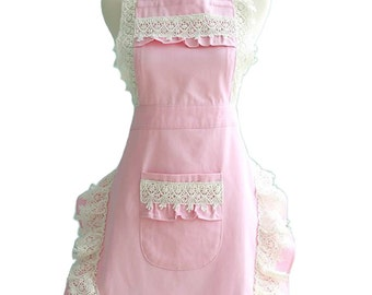 feminine pink apron with lace