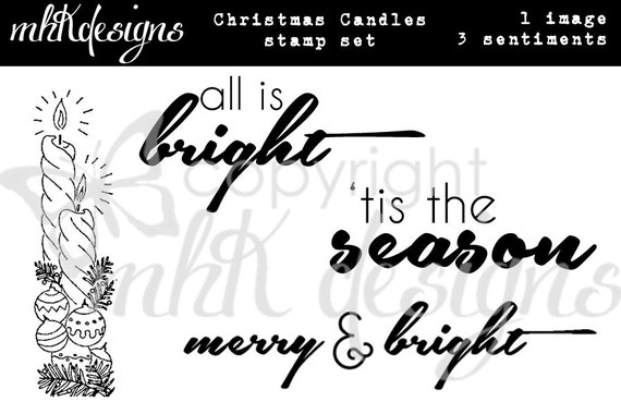 Christmas Candles Digital Stamp Set