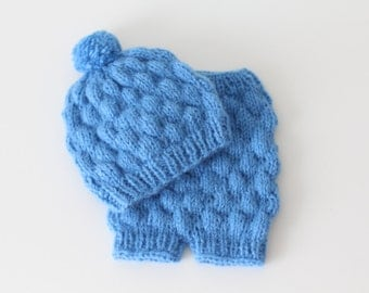Newborn set - Baby boy - Photo props - Newborn boy - Props - Newborn hat - Newborn shorts - Newborn set - Pants and Hat - Bright blue - Boy